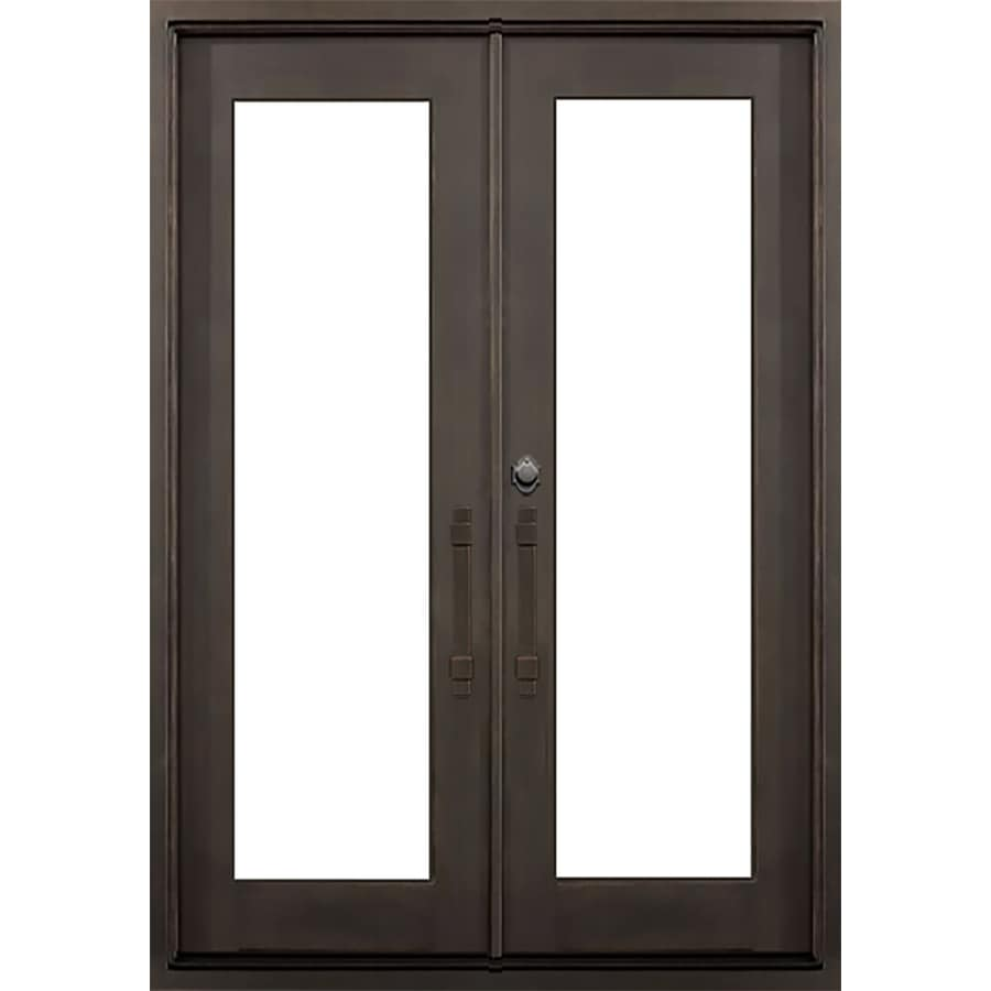 Shop florida iron doors french insulating core full lite for Black french doors exterior