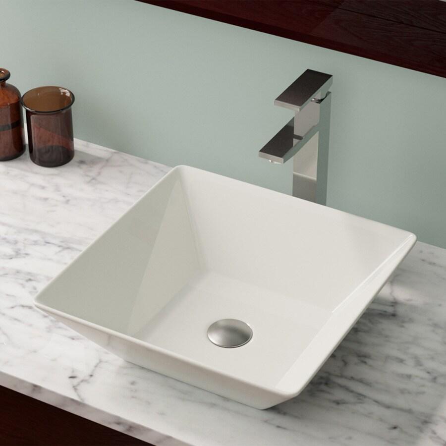 Mr Direct Bisque Porcelain Vessel Square Bathroom Sink At