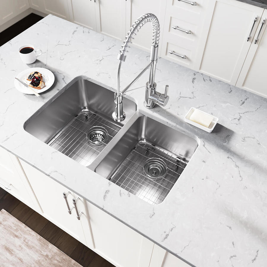 Industrial Residential Kitchen: MR Direct 32-in X 20.75-in Stainless Steel Double-Basin