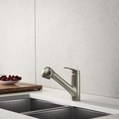 Brushed Nickel 1 Handle Deck Mount Pull Out Kitchen Faucet