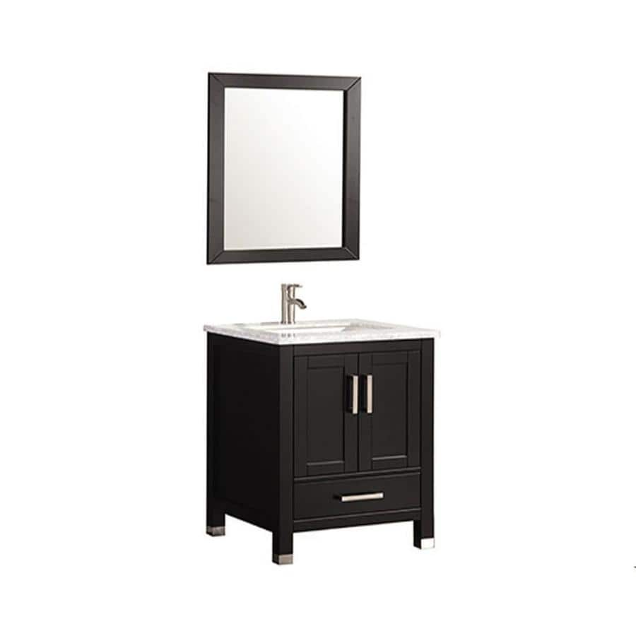MTD Vanities Ricca Espresso 30-in Undermount Single Sink Oak Bathroom Vanity with Natural Marble Top (Faucet and Mirror Included)