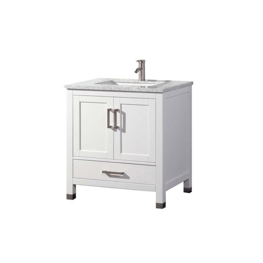 Shop MTD Vanities White Undermount Single Sink Bathroom Vanity With Natural M