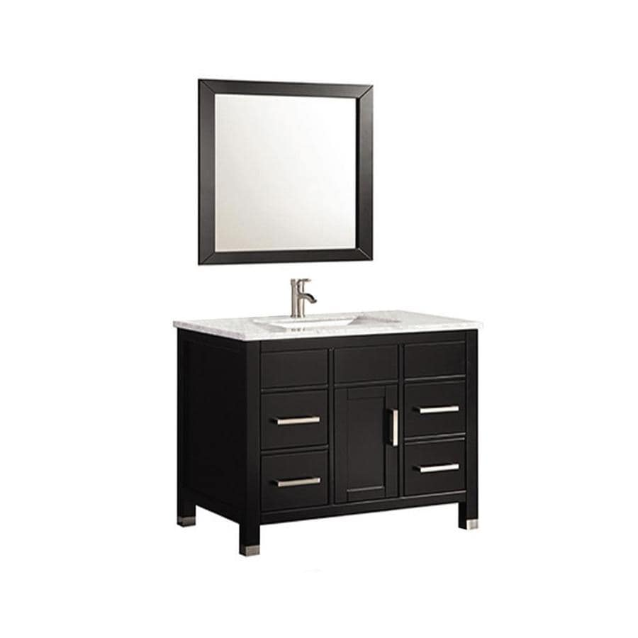 MTD Vanities 36-in Espresso Undermount Single Sink Bathroom Vanity with Natural Marble Top (Faucet and Mirror Included)