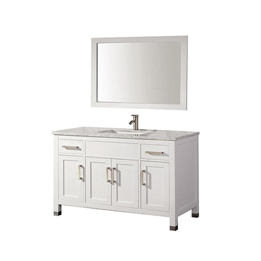 Shop mtd vanities white undermount single sink bathroom vanity with natural marble top common Marble top bathroom vanities