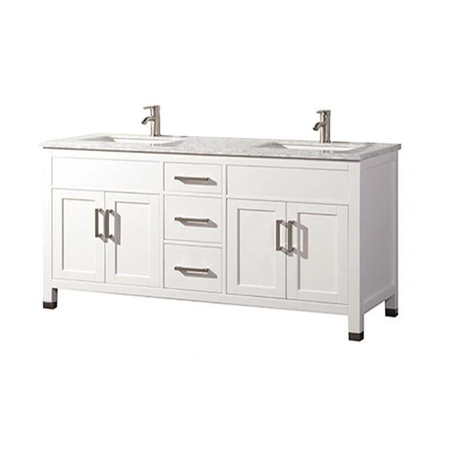Shop mtd vanities white undermount double sink bathroom vanity with natural marble top common Marble top bathroom vanities