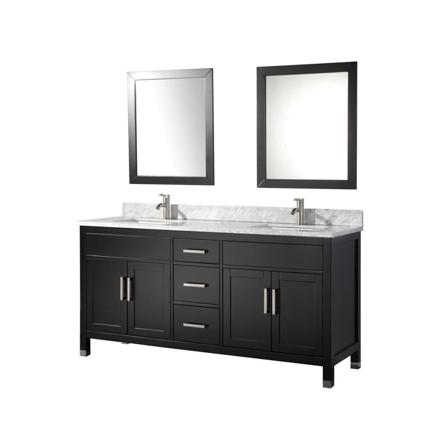 Shop mtd vanities espresso undermount double sink bathroom for Bathroom 72 double vanity