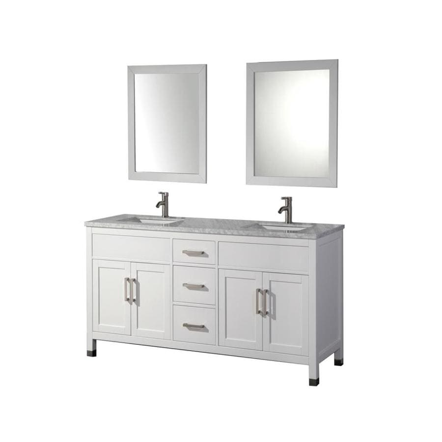 MTD Vanities Ricca White 72-in Undermount Double Sink Oak Bathroom Vanity with Natural Marble Top (Faucet Included) Mirror Included