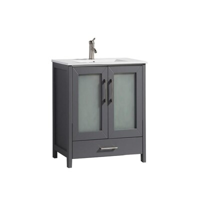 24 In Grey Single Sink Bathroom Vanity With White Ceramic Top And Mirror