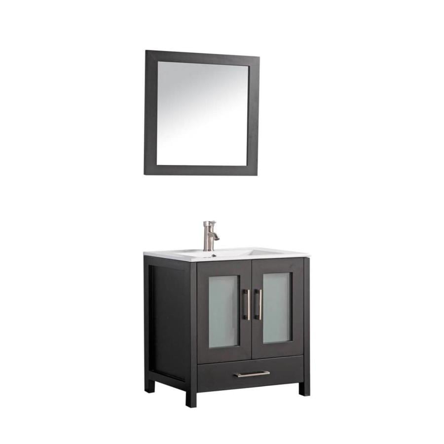 MTD Vanities Argentina Espresso 36-in Integral Single Sink Oak Bathroom Vanity with Ceramic Top (Faucet and Mirror Included)