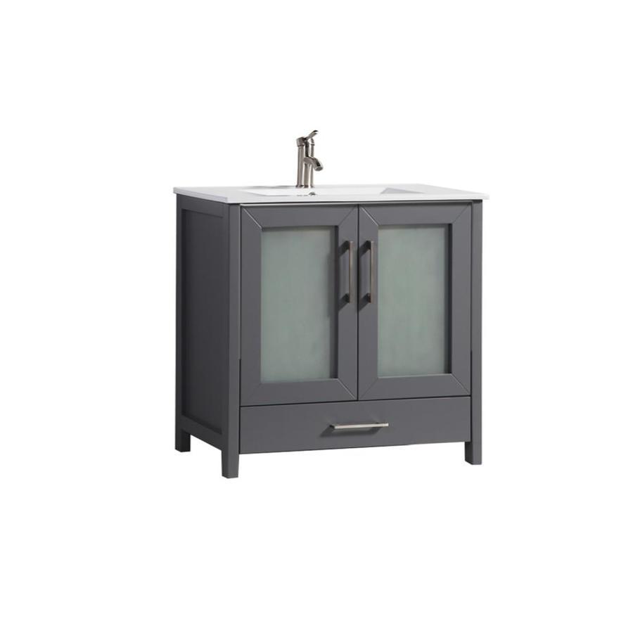 MTD Vanities Grey Integral Single Sink Bathroom Vanity with Ceramic Top (Common: 48-in x 18-in; Actual: 48-in x 18-in)