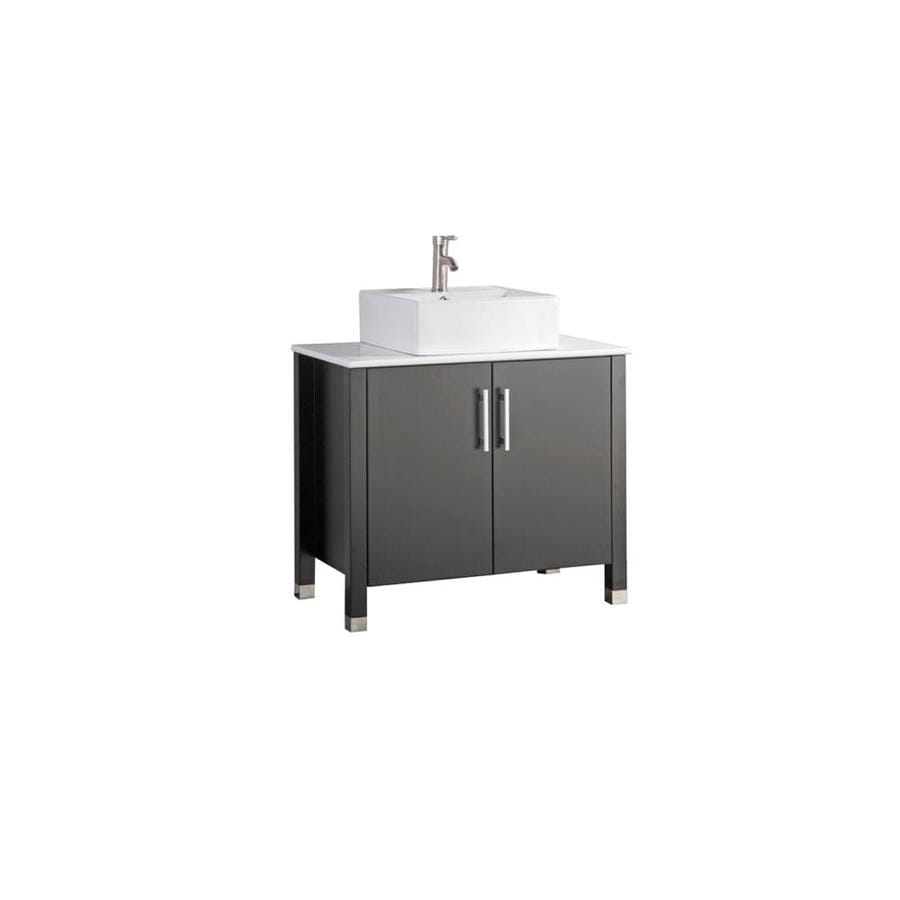 MTD Vanities Aruba Espresso 35.4-in Vessel Single Sink Oak Bathroom Vanity with Engineered Stone Top (Faucet and Mirror Included)