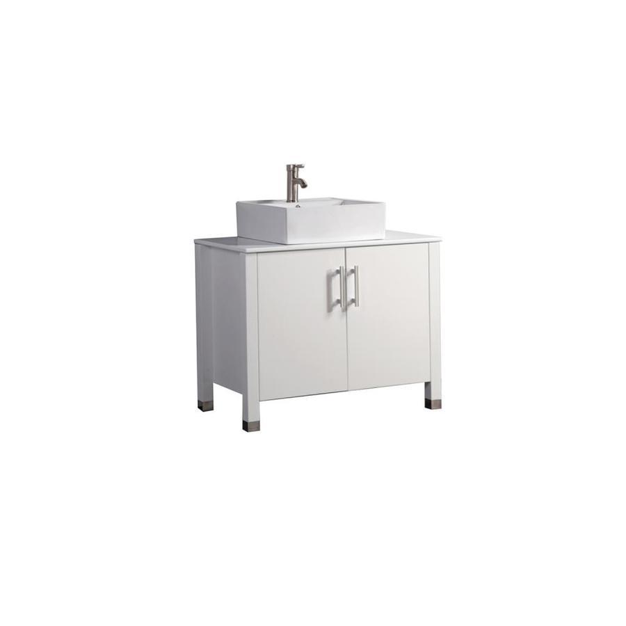 MTD Vanities Aruba White 35.4-in Vessel Single Sink Oak Bathroom Vanity with Engineered Stone Top (Faucet and Mirror Included)