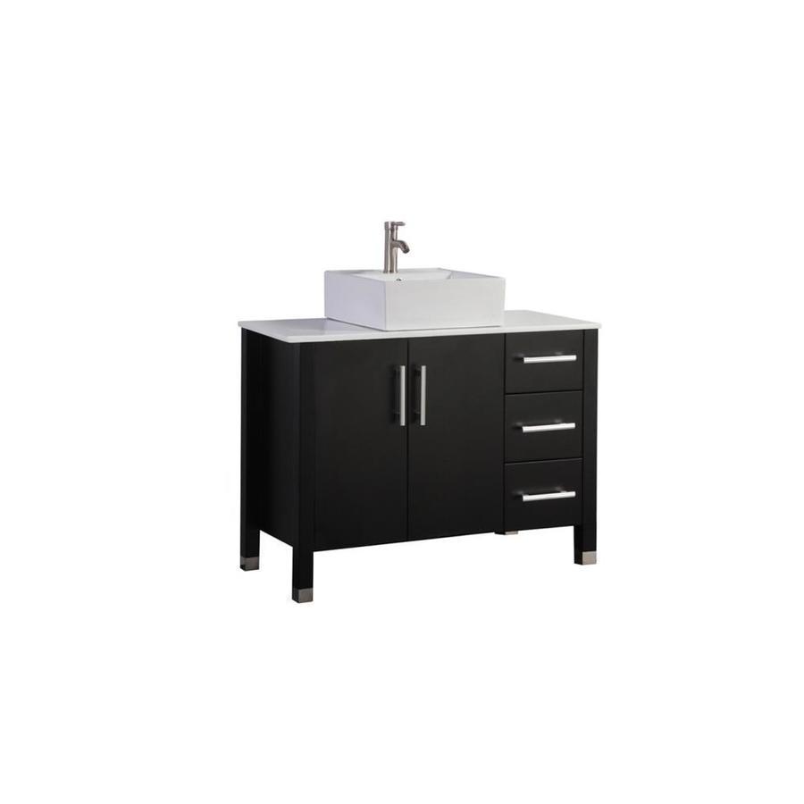 MTD Vanities Espresso Single Vessel Sink Bathroom Vanity with Engineered Stone Top (Common: 40-in x 20-in; Actual: 39.4-in x 19.7-in)
