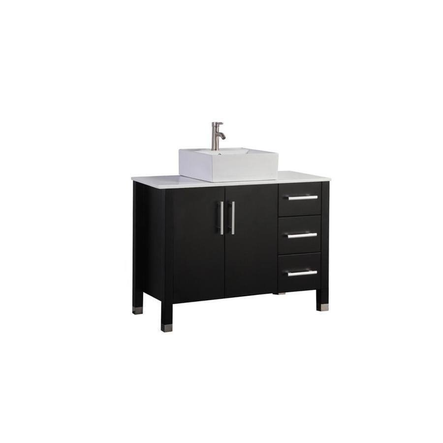 MTD Vanities Aruba Espresso (Common: 40-in x 20-in) Vessel Single Sink Oak Bathroom Vanity with Engineered Stone Top (Faucet and Mirror Included) (Actual: 39.4-in x 19.7-in)