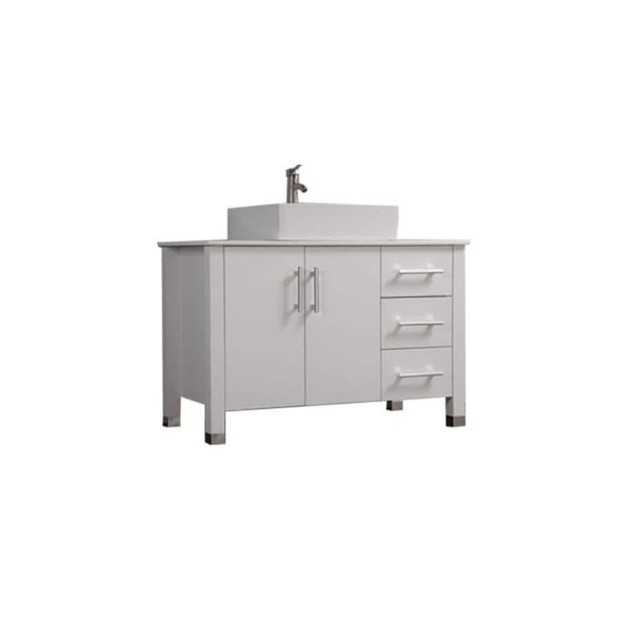 MTD Vanities Aruba White 39.4-in Vessel Single Sink Oak Bathroom Vanity with Engineered Stone Top (Faucet and Mirror Included)