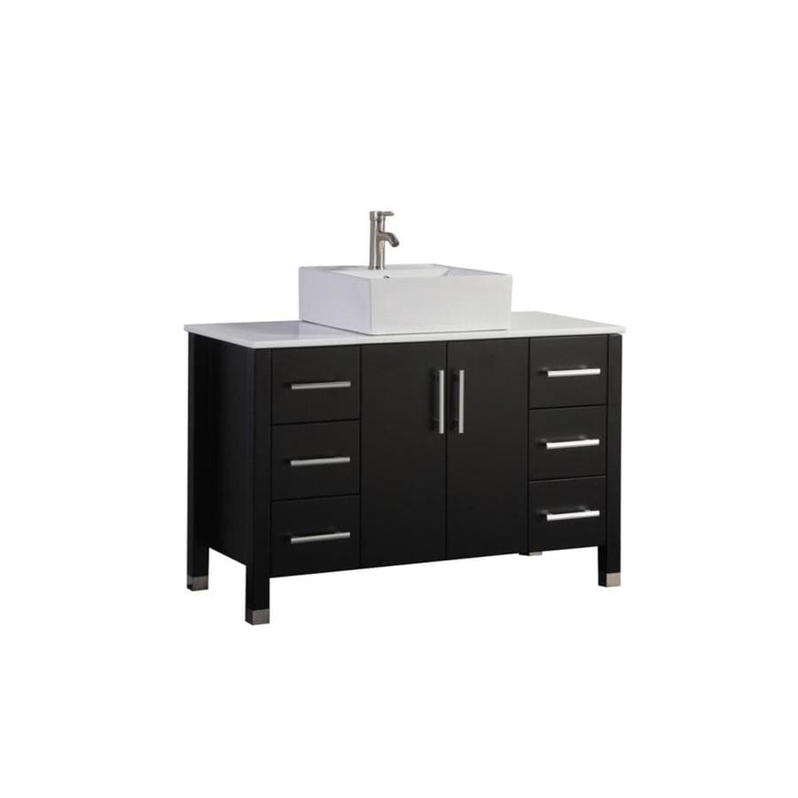 MTD Vanities Espresso Vessel Single Sink Bathroom Vanity with Engineered Stone Top (Common: 47-in x 20-in; Actual: 47-in x 19.5-in)