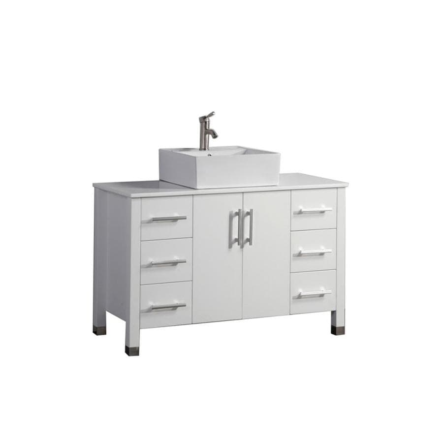 MTD Vanities White Vessel Single Sink Bathroom Vanity with Engineered Stone Top (Common: 47-in x 20-in; Actual: 47-in x 19.5-in)