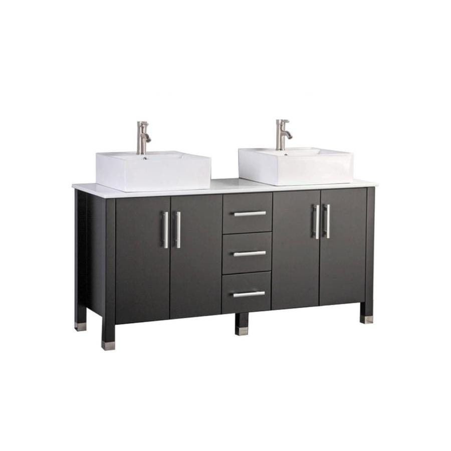 MTD Vanities Aruba Espresso (Common: 60-in x 20-in) Vessel Double Sink Oak Bathroom Vanity with Engineered Stone Top (Faucet and Mirror Included) (Actual: 60-in x 19.7-in)