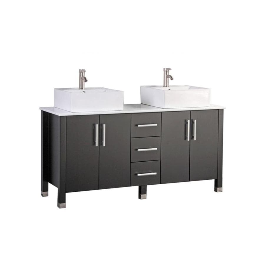 Shop MTD Vanities 71 In Espresso Vessel Double Sink