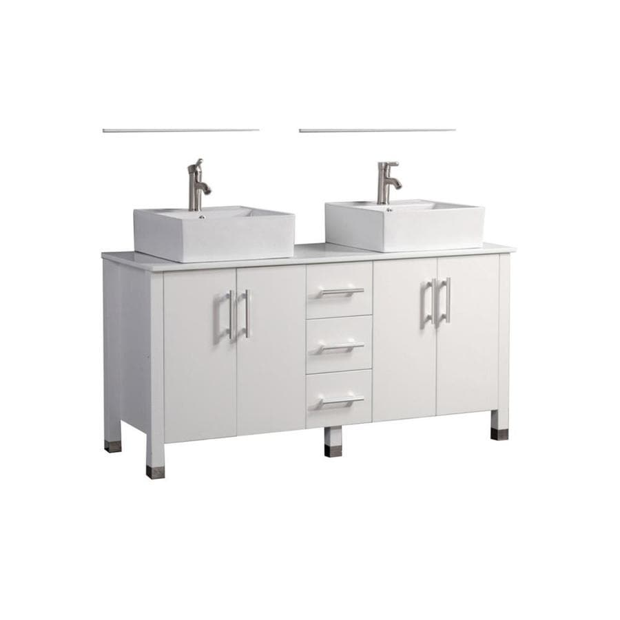 MTD Vanities Aruba White 71-in Vessel Double Sink Oak Bathroom Vanity with Engineered Stone Top (Faucet and Mirror Included)