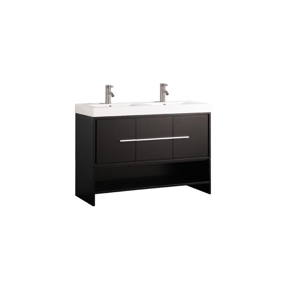 MTD Vanities Belarus Espresso 47.25-in Vessel Double Sink Oak Bathroom Vanity with Engineered Stone Top (Faucet and Mirror Included)