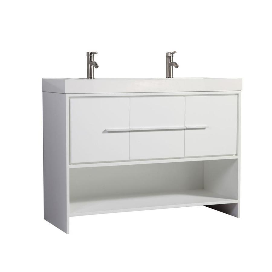 MTD Vanities White Double Vessel Sink Bathroom Vanity with Engineered Stone Top (Common: 47-in x 18-in; Actual: 47.25-in x 18.13-in)