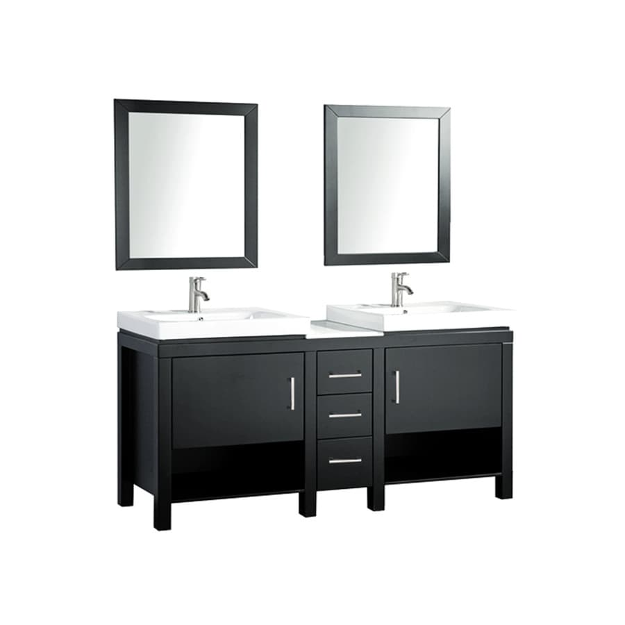 Shop mtd vanities 60 in espresso vessel double sink bathroom vanity with engineered stone top - Double bathroom vanities granite tops ...