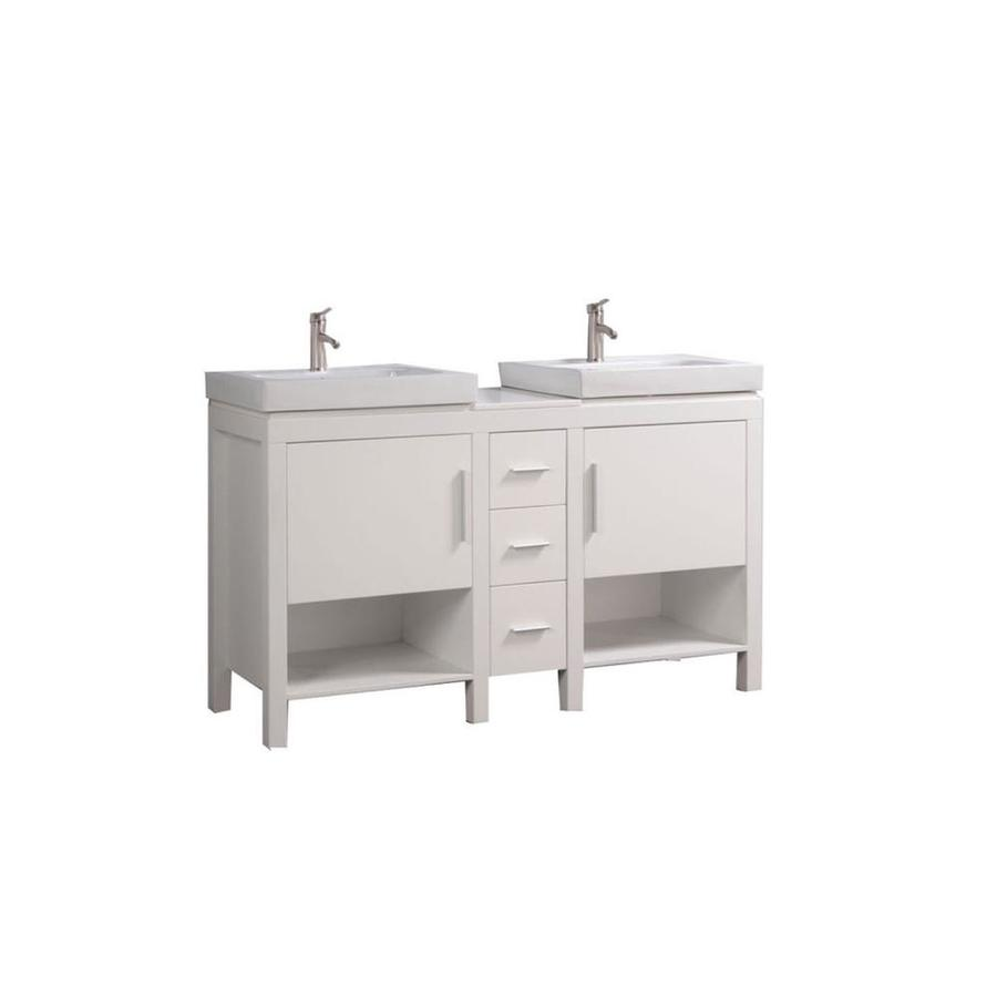 MTD Vanities White Vessel Double Sink Bathroom Vanity with Engineered Stone Top (Common: 60-in x 19-in; Actual: 60-in x 19.25-in)