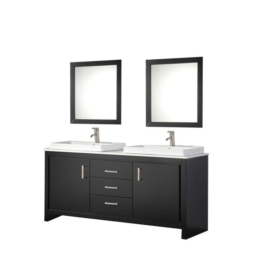 MTD Vanities Espresso Vessel Double Sink Bathroom Vanity with Engineered Stone Top (Common: 60-in x 20-in; Actual: 60-in x 20.25-in)