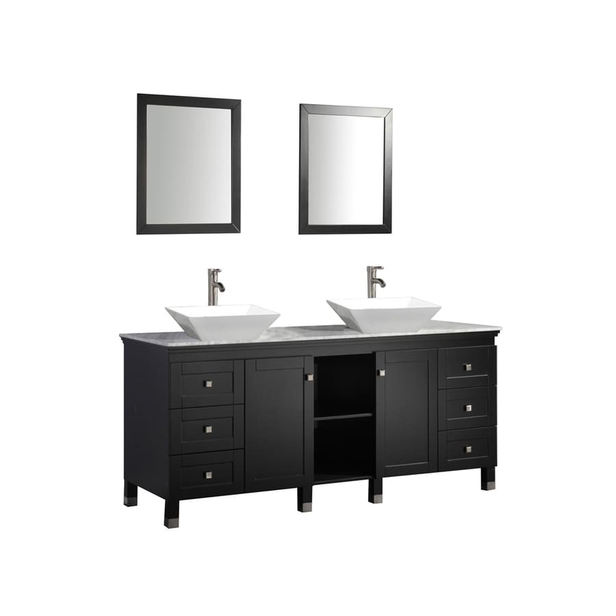 MTD Vanities Espresso Vessel Double Sink Bathroom Vanity with Natural Marble Top (Common: 72-in x 22-in; Actual: 72-in x 22-in)