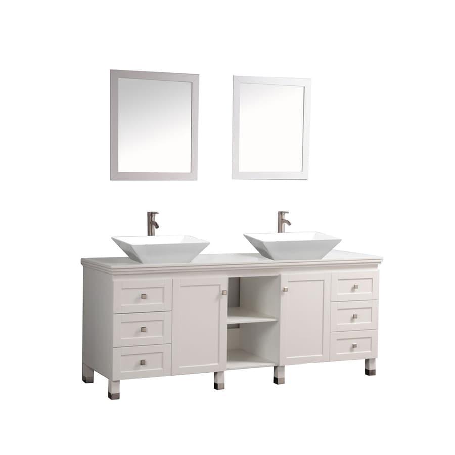 MTD Vanities White Vessel Double Sink Bathroom Vanity with Engineered Stone Top (Common: 72-in x 22-in; Actual: 72-in x 22-in)