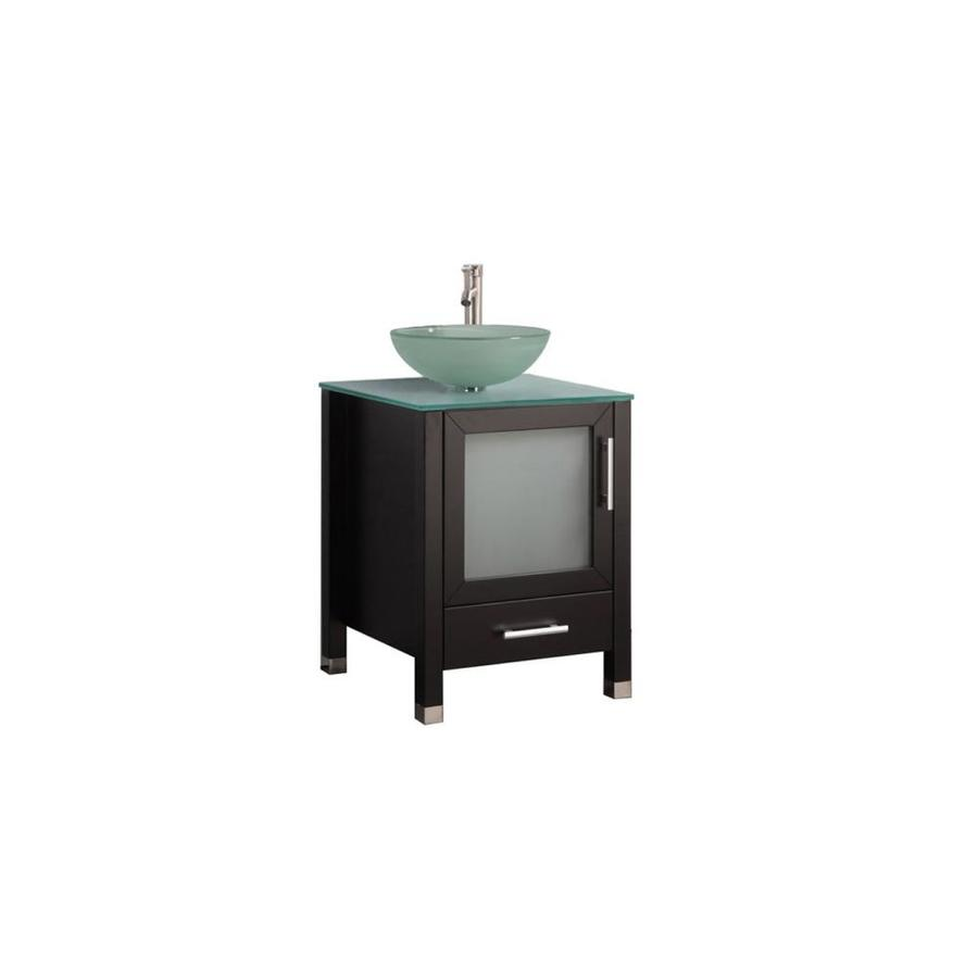 MTD Vanities Cuba Espresso (Common: 24-in x 20-in) Vessel Single Sink Oak Bathroom Vanity with Glass Top (Faucet and Mirror Included) (Actual: 24-in x 19.7-in)