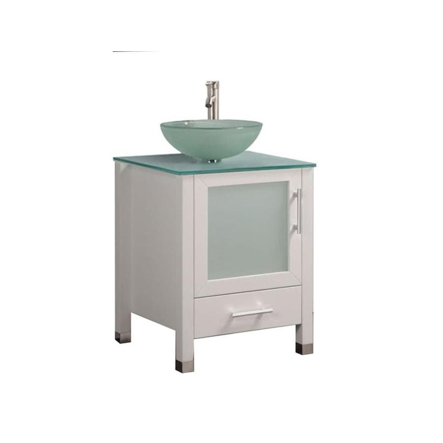 Shop MTD Vanities White Vessel Single Sink Bathroom Vanity With Glass Top Co