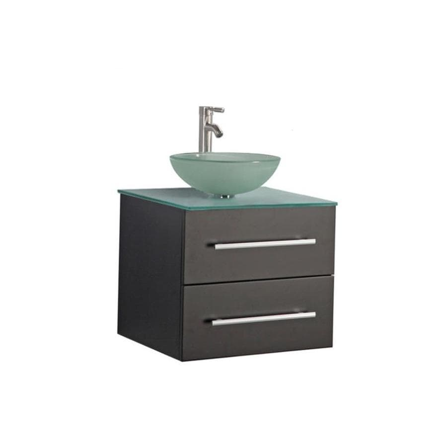 MTD Vanities Cuba Espresso 24-in Vessel Single Sink Oak Bathroom Vanity with Glass Top (Faucet and Mirror Included)