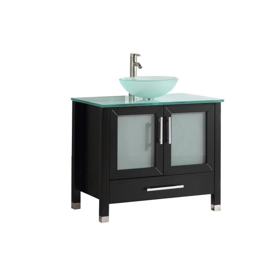 36 in espresso vessel single sink bathroom vanity with glass top
