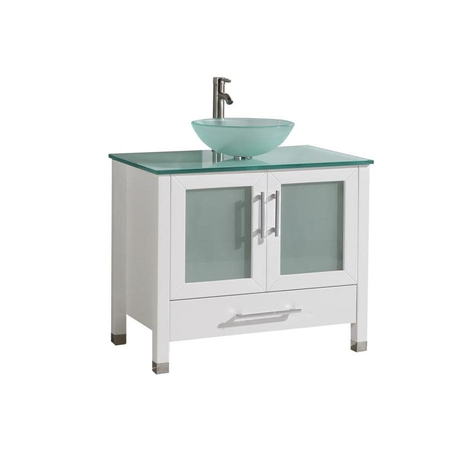 MTD Vanities White Vessel Single Sink Bathroom Vanity with Glass Top (Common: 36-in x 20-in; Actual: 36-in x 19.7-in)