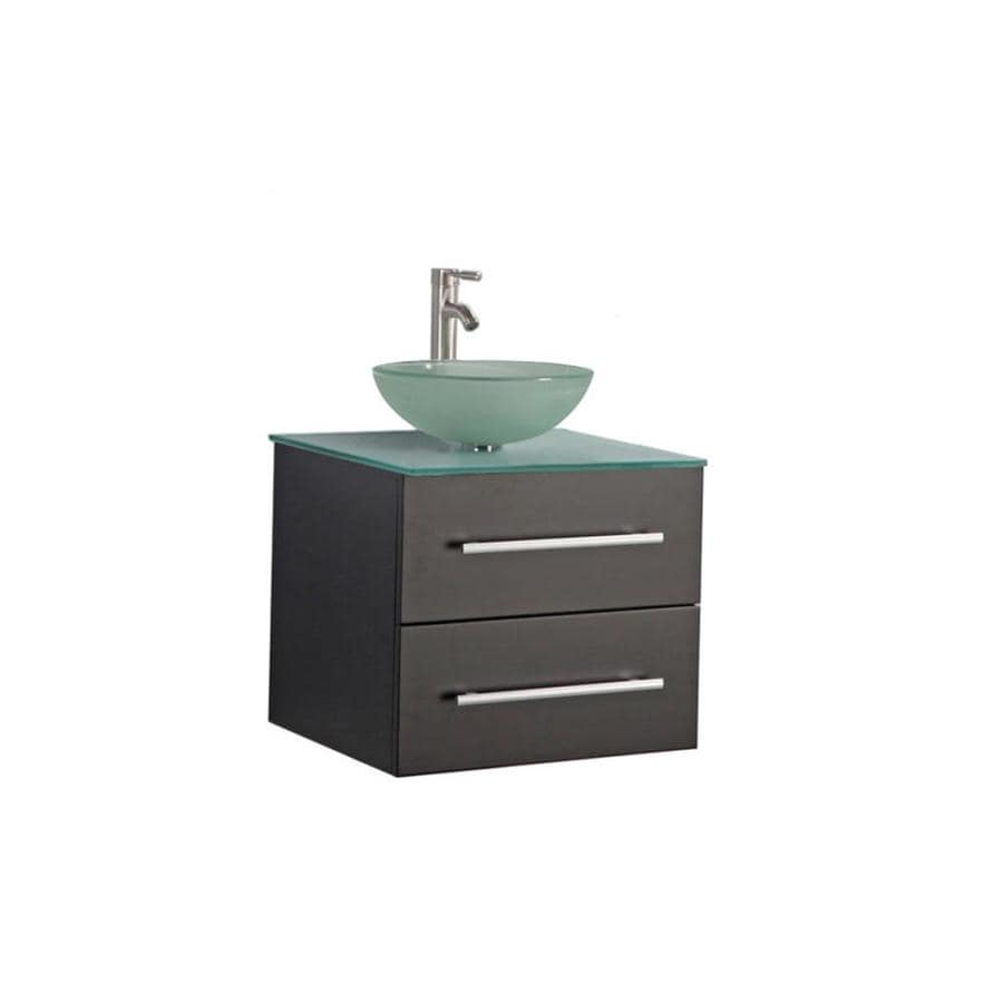 MTD Vanities Cuba Espresso (Common: 36-in x 20-in) Vessel Single Sink Oak Bathroom Vanity with Glass Top (Faucet and Mirror Included) (Actual: 36-in x 19.7-in)