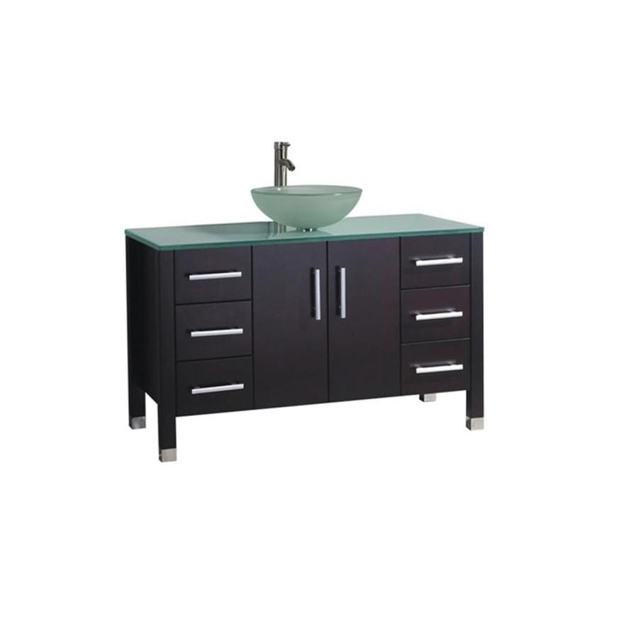 MTD Vanities Cuba Espresso (Common: 47-in x 20-in) Vessel Single Sink Oak Bathroom Vanity with Glass Top (Faucet and Mirror Included) (Actual: 47.2-in x 19.7-in)