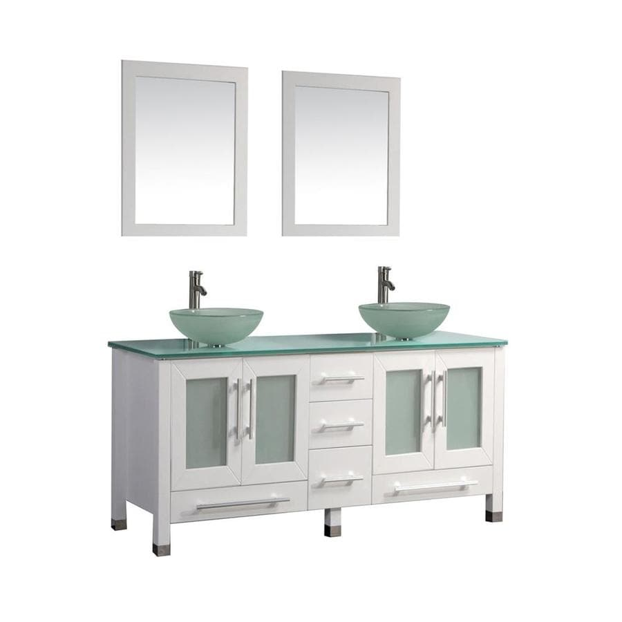 MTD Vanities White Double Vessel Sink Bathroom Vanity with Glass Top (Common: 61-in x 20-in; Actual: 61-in x 20.5-in)
