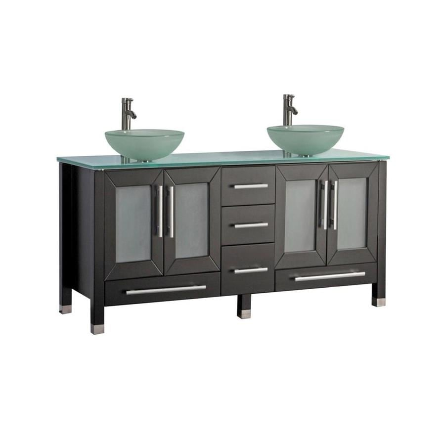 MTD Vanities Cuba Espresso 71-in Vessel Double Sink Oak Bathroom Vanity with Glass Top (Faucet and Mirror Included)