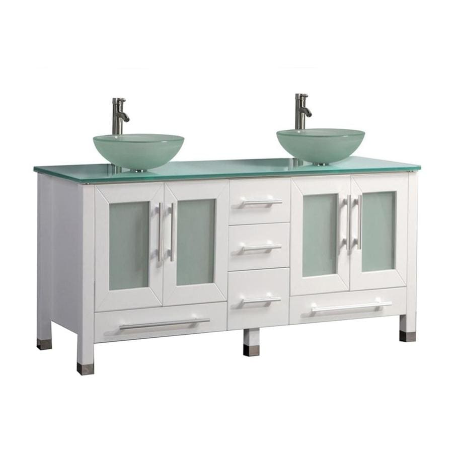 Shop mtd vanities white double vessel sink bathroom vanity for Double basin bathroom sinks