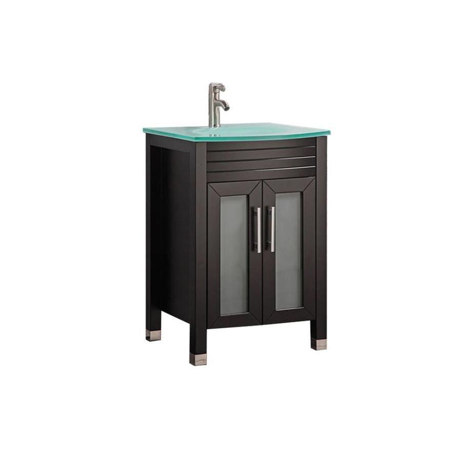 MTD Vanities Espresso Integral Single Sink Bathroom Vanity with Glass Top (Common: 24-in x 22-in; Actual: 24-in x 21.5-in)
