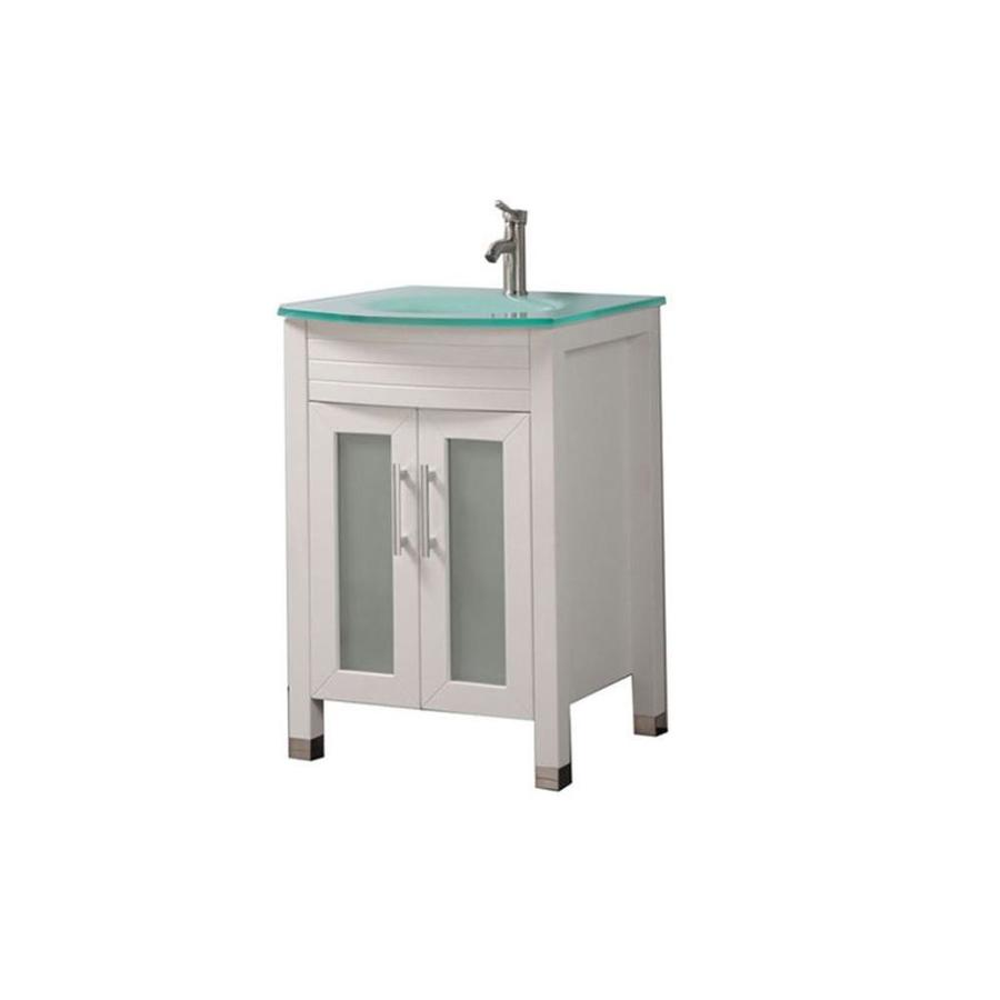 Shop mtd vanities white integrated single sink bathroom for Bathroom vanities with sinks included