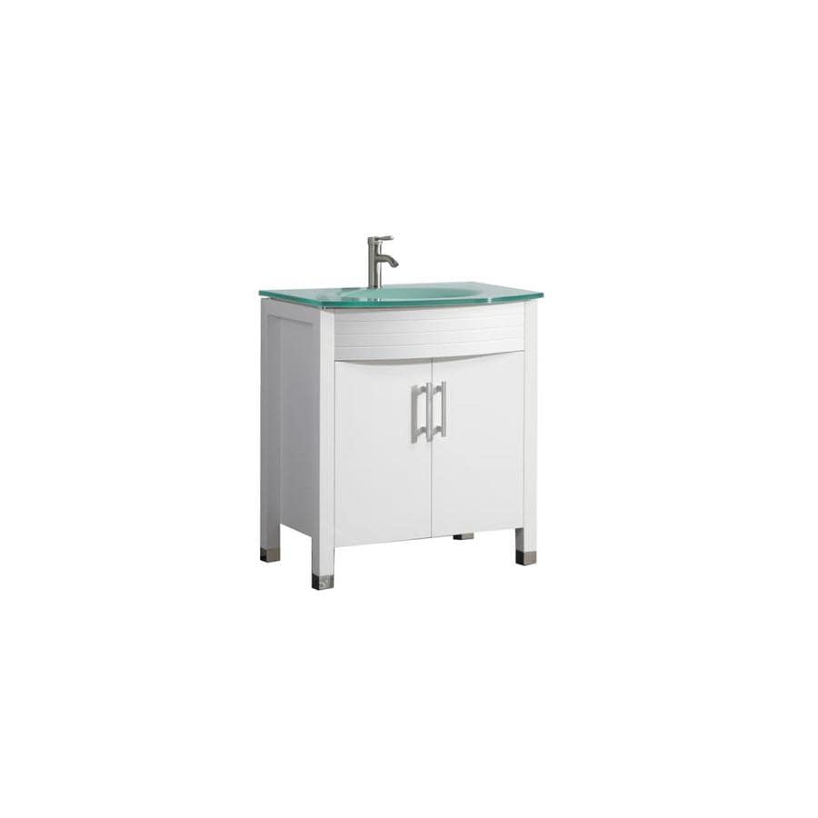 MTD Vanities Figi White 32-in Integral Single Sink Oak Bathroom Vanity with Glass Top (Faucet and Mirror Included)