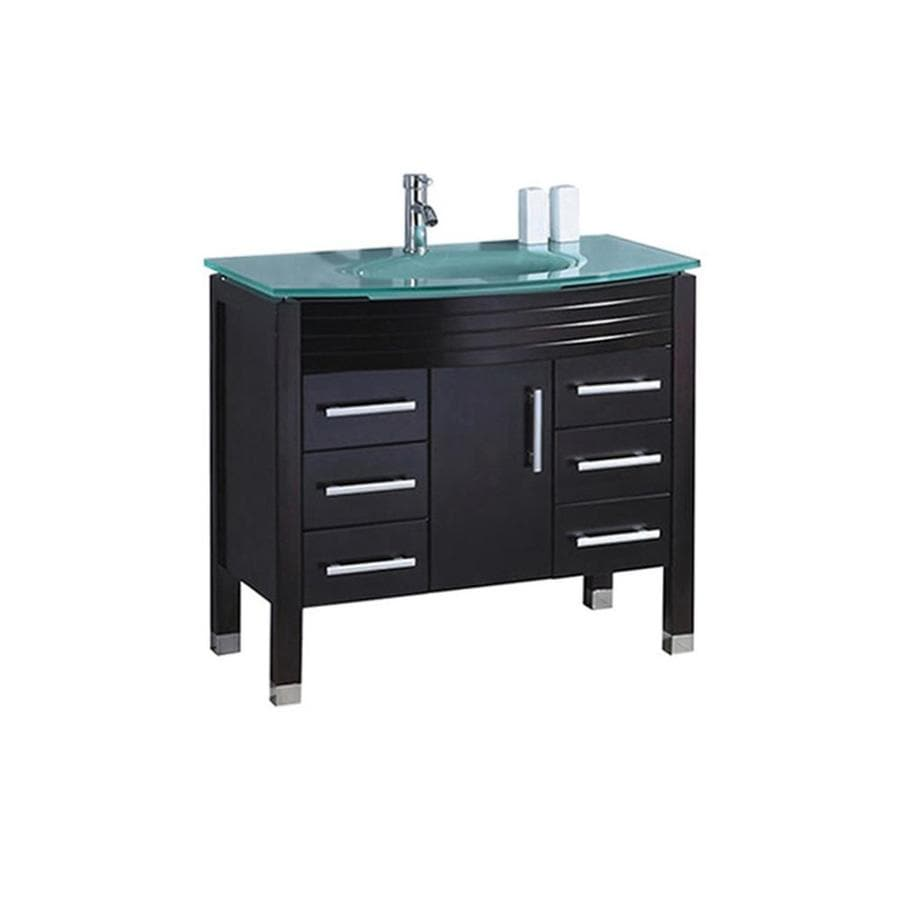 MTD Vanities Figi Espresso 35.5-in Integral Single Sink Oak Bathroom Vanity with Glass Top (Faucet and Mirror Included)