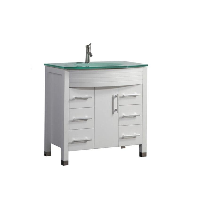 MTD Vanities Figi White 35.5-in Integral Single Sink Oak Bathroom Vanity with Glass Top (Faucet and Mirror Included)