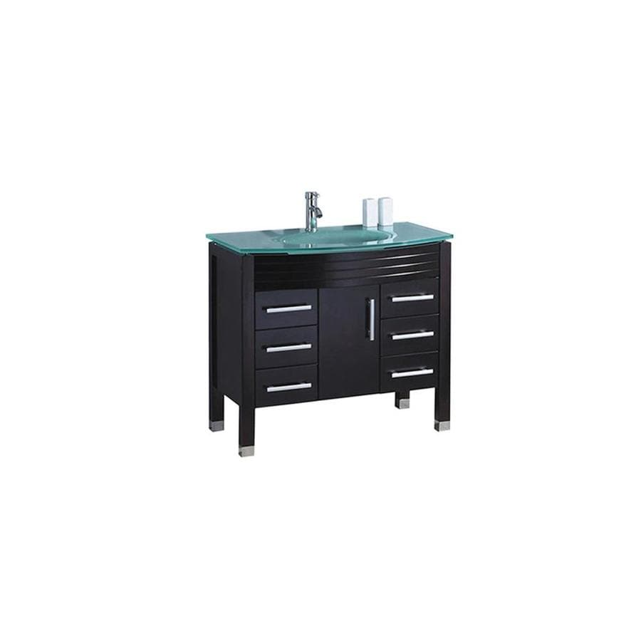 MTD Vanities 47.2-in Espresso Integral Single Sink Bathroom Vanity with Glass Top (Faucet and Mirror Included)