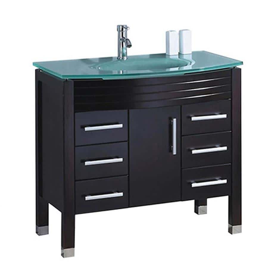MTD Vanities 47.2-in White Integral Single Sink Bathroom Vanity with Glass Top (Faucet and Mirror Included)