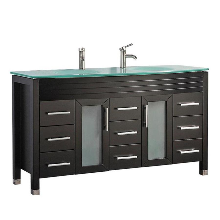 Shop MTD Vanities Espresso Integral Double Sink Bathroom Vanity with Glass Top (Common: 63-inx...