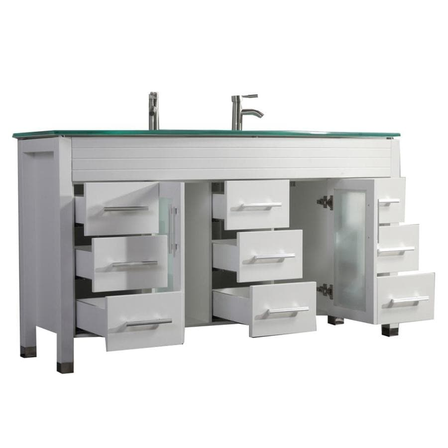 MTD Vanities White Integrated Double Sink Bathroom Vanity with Glass Top (Common: 63-in x 22-in; Actual: 63-in x 22-in)